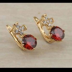 New 18ktgf red cz earrings